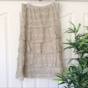 Rachel Rose Large Tan Tiered Lace Midi Skirt
